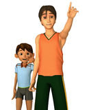 Brothers. 3d rendering of brothers in American toon style Royalty Free Stock Photo
