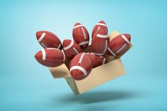 3d rendering of brown american football balls in carton box on blue background royalty free stock images