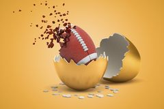3d rendering of brown ball for American football that just hatched out from golden egg, upper part of ball dissolving in royalty free stock image