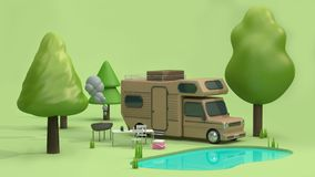 3d render brown home car in green parks have many trees nature and pond blue water reflection cartoon style stock illustration