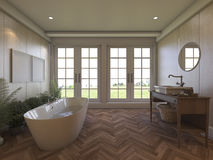3d rendering brown laminate bathroom with nice view Stock Photography