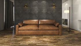 3d rendering brown leather sofa in loft living room. 3D Interior rendering by 3ds max Stock Images