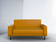 3d rendering brown sofa. On white background Stock Images