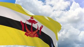 3D rendering of Brunei flag waving on blue sky background with Alpha channel stock footage