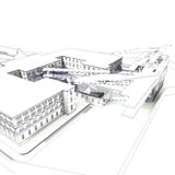 3D rendering of building. Wireframe render of a modern building integrated in historical centre of city Stock Image