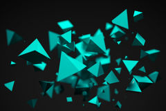 3D Rendering Of Bunch Of Reflective Blue Pyramids. On Dark Background Closeup With Shallow Depth Of Field Royalty Free Stock Photos