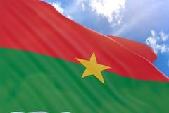 3D rendering of Burkina Faso flag waving on blue sky royalty free illustration