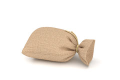 3d rendering of burlap money bag isolated on white background. Stock Images