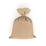 3d rendering of burlap money bag isolated on white background. Royalty Free Stock Image