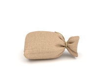 3d rendering of burlap money bag  on white background. Royalty Free Stock Photography