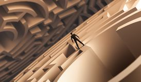 3d rendering businessman standing over a maze stock illustration
