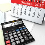 3d rendering calculator. With calendar symbolizing definite deadlines Stock Photography