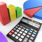 3d rendering calculator. For mathematical calculations and accounting Royalty Free Stock Image