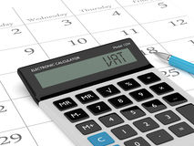 3d rendering of calculator wit vat text and calendar vector illustration