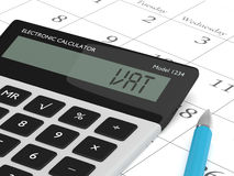 3d rendering of calculator wit vat text nad calendar. 3d rendering of calculator wit vat text  lying on calendar Royalty Free Stock Photography