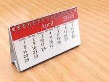 3D rendering calendar. 3D rendering flipchart desktop calendar for 2018 year Royalty Free Stock Image