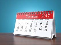 3D rendering calendar. 3D rendering flipchart desktop calendar for 2017 year Stock Photography