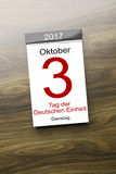 A calendar the 3rd of October Day of German unity text in german. 3d rendering of a calendar the 3rd of October Day of German unity text in german language Royalty Free Stock Photo