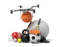3d rendering of camera drone putting basketball in pile of sports equipment isolated on white background.