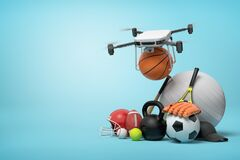 3d rendering of camera drone putting basketball in pile of sports equipment on light blue background with copy space.