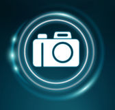 3D rendering camera icon. On blue background Stock Images