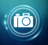 3D rendering camera icon. On blue background Stock Photography