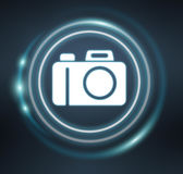 3D rendering camera icon. On dark background Stock Images