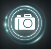 3D rendering camera icon. On dark background Royalty Free Stock Images