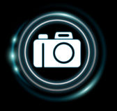 3D rendering camera icon. On dark background Stock Photos