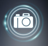 3D rendering camera icon. On grey background Stock Photo