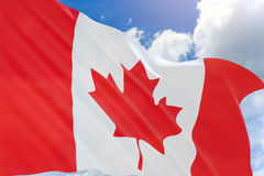 3D rendering of Canada flag waving on blue sky background Stock Photos