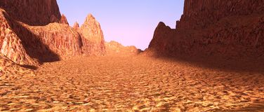3D Rendering Canyon Valley. 3D rendering of a canyon valley landscape Royalty Free Stock Image