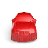 3d rendering of a car covered by red cloth Stock Images