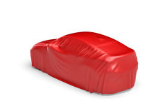 3d rendering of a car covered by red cloth Stock Photo
