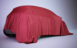 3d rendering car covered with red velvet. Car covered with red velvet Royalty Free Stock Images