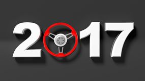 3D rendering of 2017 with car's red steering wheel as zero. On black background Royalty Free Stock Image