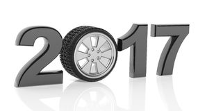3D rendering of 2017 with car's wheel as zero. On white background Stock Photos