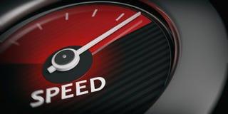 3d rendering car speedometer. 3d rendering black - chrome car speedometer close up Stock Photography