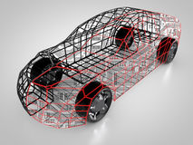 3D rendering: car technology. Car with carbody and circuit board Stock Images