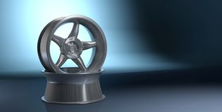 3D rendering Car wheel on dark blue background royalty free illustration