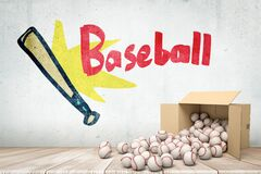 3d rendering of cardboard box lying sidelong with baseballs scattering out of it near grungy wall with drawing of bat