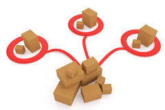 3D rendering of cardboard boxes distributing to ares. On white background Stock Photos