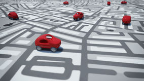 3D Rendering cars toy on street map Royalty Free Stock Photos
