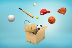 3d rendering of a carton box with different sport balls, bats and caps flying in or out of it. Sport equipment. Sport game gear. Summer leisure games royalty free stock photo