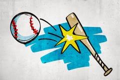 3d rendering of cartoon baseball bat hitting baseball ball on white wall background