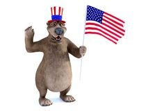 3D rendering of a cartoon bear celebrating 4th of July or Indepe. 3D rendering of a charming smiling cartoon bear wearing a flag decorated hat and holding an vector illustration