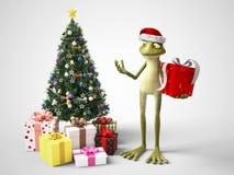 3D rendering of cartoon frog celebrating Christmas. stock illustration