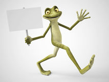 3D rendering of cartoon frog holding blank sign. Stock Photography