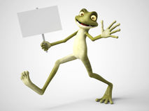 3D rendering of cartoon frog holding blank sign. Royalty Free Stock Photography
