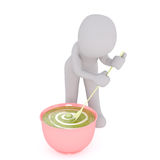 3D rendering of cartoon man stirring big bowl. Of pea porridge with long spoon Royalty Free Stock Photo